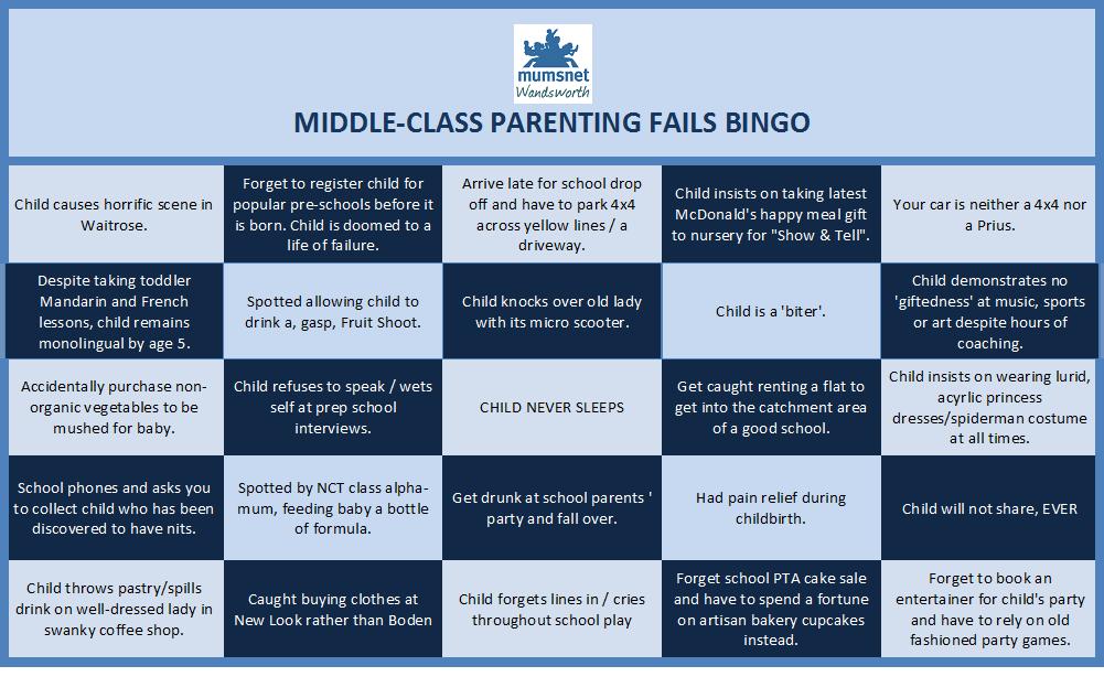 Middle Class Parenting Fails Bingo